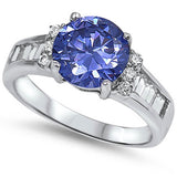 Tanznaite & Cz Engagement Ring .925 Sterling Silver Sizes 5-10