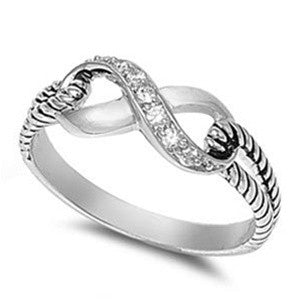 Beautiful CZ Infinity Knot Promise Fashion Ring Sizes 4-10
