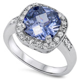 Sterling Silver Lab Created Tanzanite and Cubic Zirconia Ring