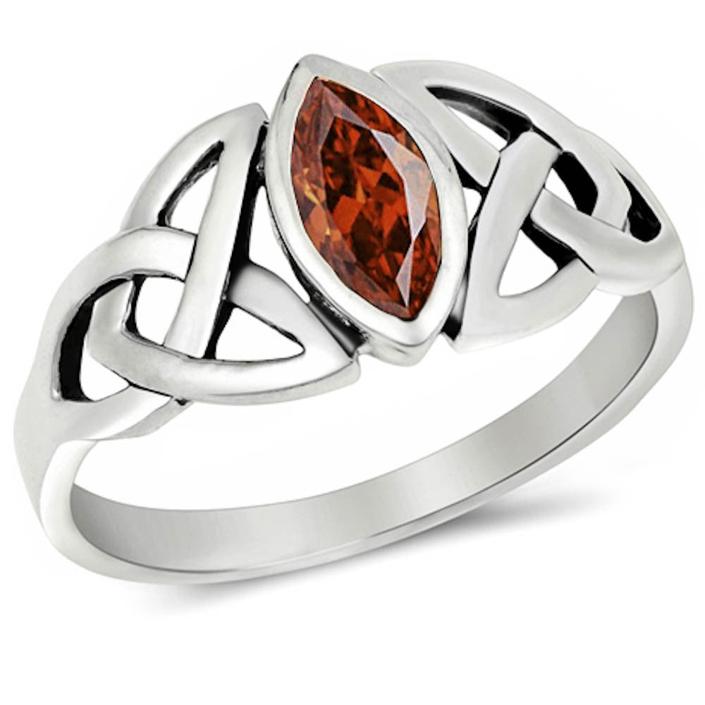 <span>CLOSEOUT!</span>CELTIC DESIGN MARQUISE CUT Garnet .925 Sterling Silver Ring Sizes 4-11