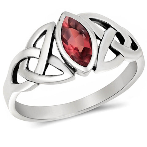 <span>CLOSEOUT!</span> CELTIC DESIGN MARQUISE CUT Ruby .925 Sterling Silver Ring Sizes 4-11