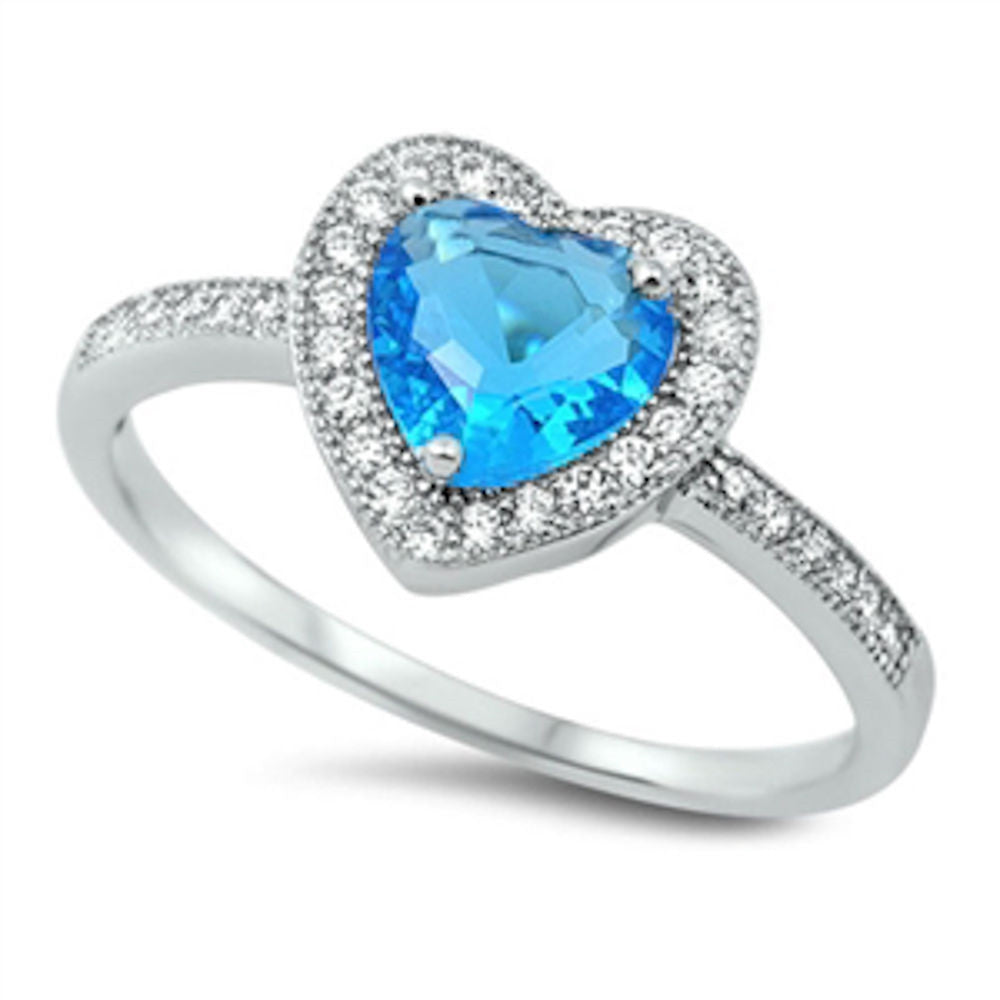 Blue Topaz & CZ Heart .925 Sterling Silver Ring Size 5