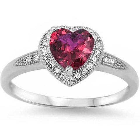 Halo Style Heart Cut Ruby & Cz Promise .925 Sterling Silver Ring Sizes 5-10