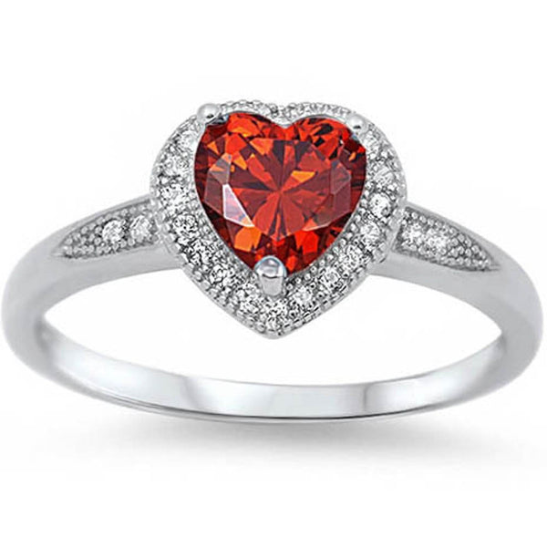 Halo Style Heart Cut Garnet Promise Ring .925 Sterling Silver Size 5-9