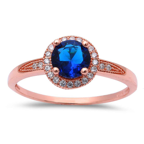 Rose Gold Plated Halo Blue Sapphire Cubic Zirconia .925 Sterling Silver Ring Sizes 4-9