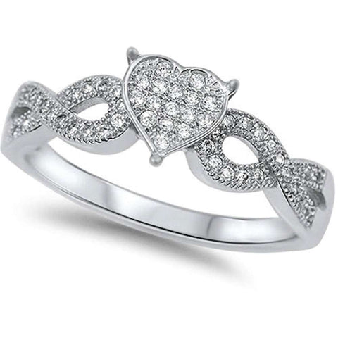 Pave Cz Heart Infinity  .925 Sterling Silver Ring Sizes 4-11