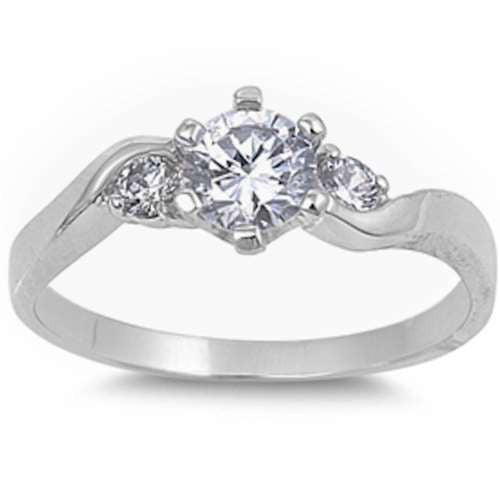 ELEGANT ROUND CLEAR CZ ENGAGEMENT PROMISE .925 Sterling Silver Ring Sizes 4-9