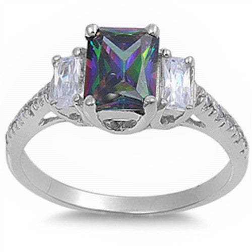 BEAUTIFUL RAINBOW TOPAZ & CZ .925 Sterling Silver Ring Sizes 5-9