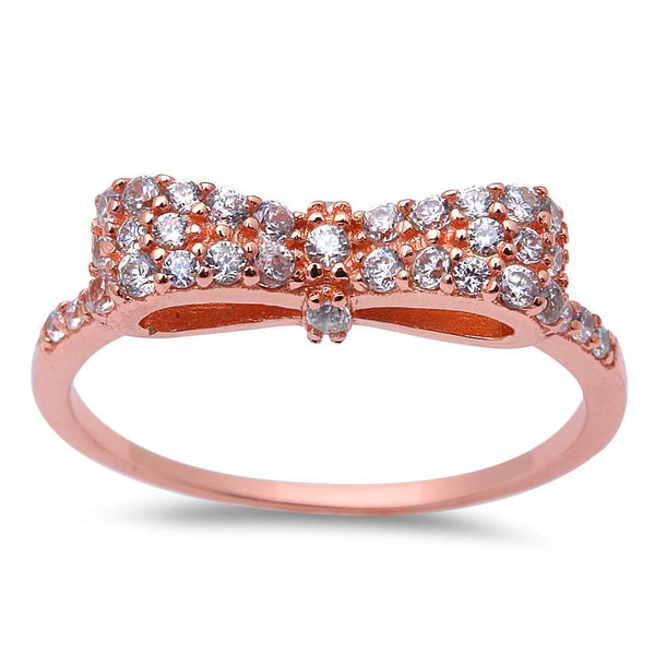 Rose Gold Plated Cubic Zirconia Bow Tie .925 Sterling Silver Ring Sizes 4-10