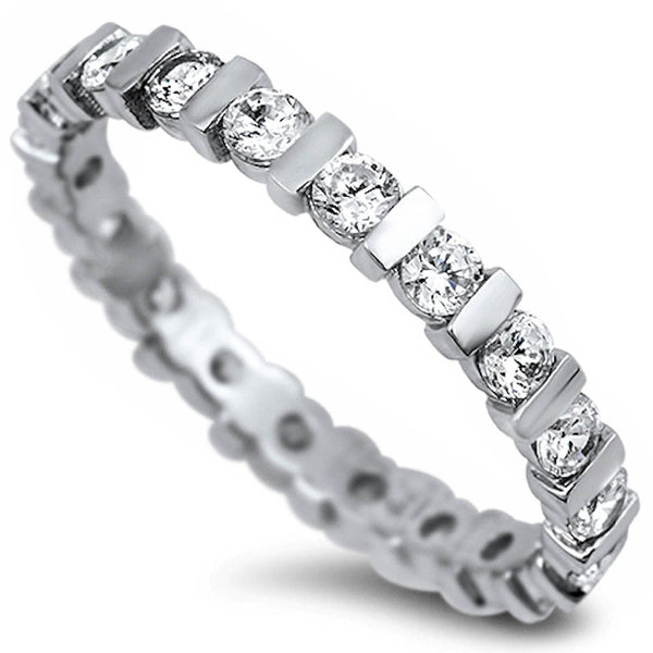 ROUND WHITE CZ ENGAGEMENT BAND .925 Sterling Silver Ring Sizes 5-10