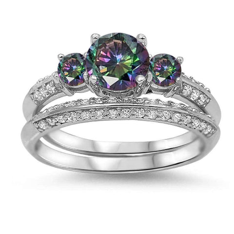 Rainbow Topaz & Cz Bridal Set .925 Sterling Silver Ring Sizes 5-10