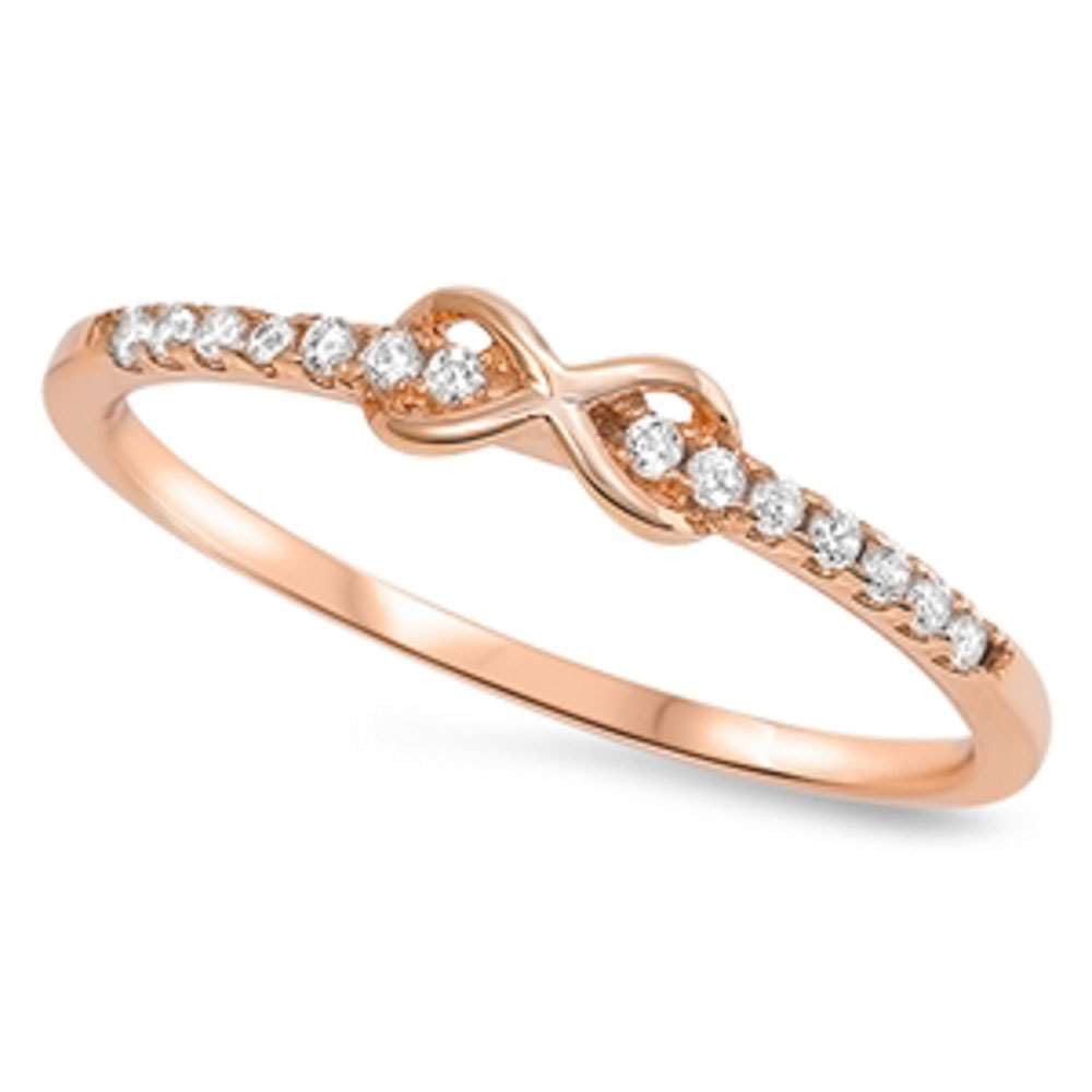 Rose Gold Plated Infinity w/ Cz .925 Sterling Silver Ring Sizes 4-10