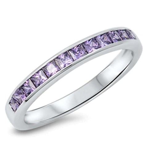 Amethyst Princess Cut Eternity Band .925 Sterling Silver Ring Sizes 5-10
