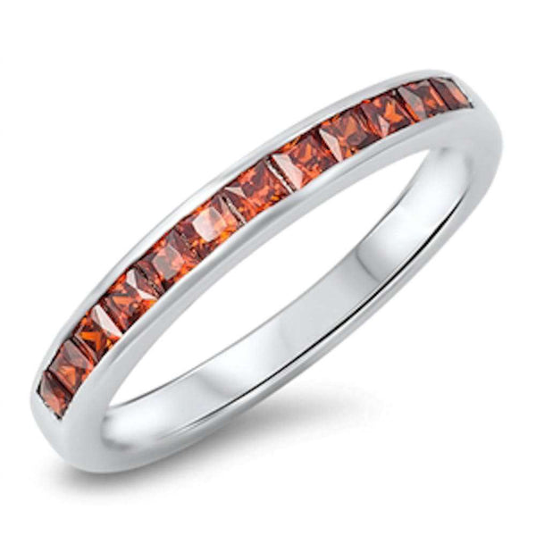 Garnet Princess Cut Eternity Band .925 Sterling Silver Ring Sizes 5-10