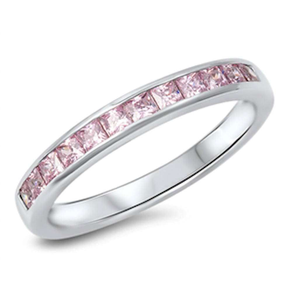 Pink Sapphire Princess Cut Eternity Band .925 Sterling Silver Ring Sizes 5-10