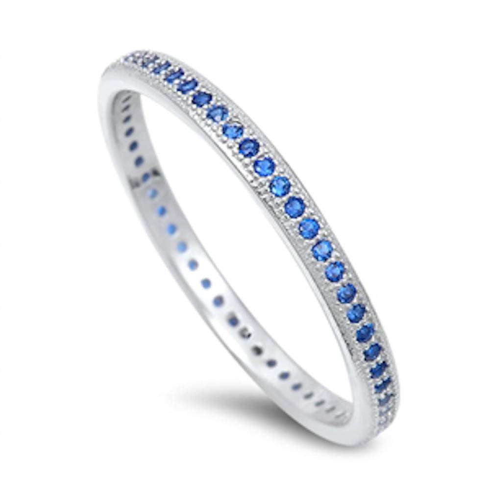 Blue Sapphire Eternity Wedding Band .925 Sterling Silver Ring Sizes 4-10