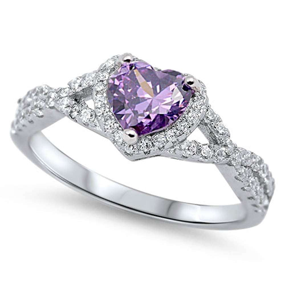Heart with Amethyst Cubic Zirconia .925 Sterling Silver Ring Sizes 4-12