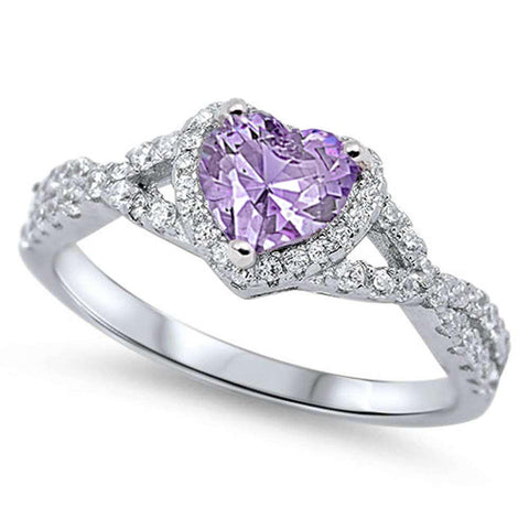 Heart with Lavender Cubic Zirconia .925 Sterling Silver Ring Sizes 7-9