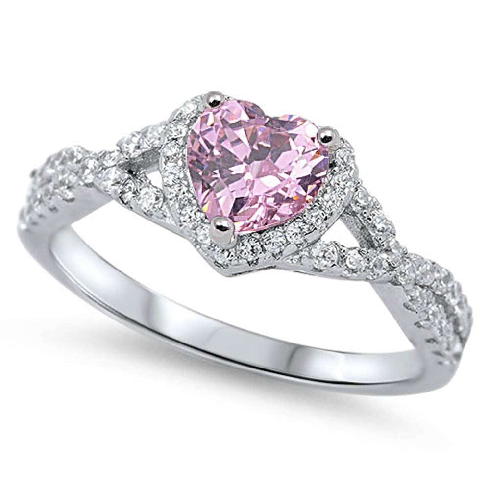 Heart with Pink Cubic Zirconia .925 Sterling Silver Ring Sizes 4-12