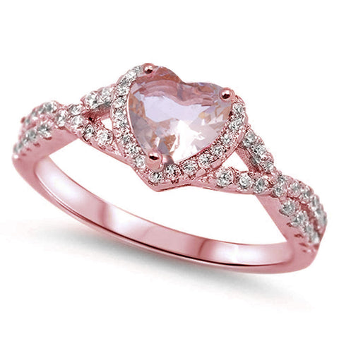 Rose Gold Plated Morganite Heart Infinity .925 Sterling Silver Ring Sizes 5-10