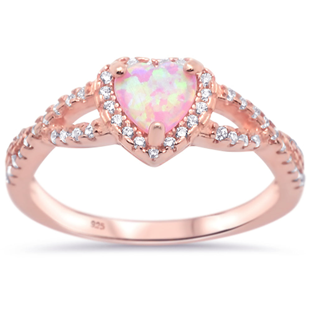 86e439515e Sonara Jewelry--Rose Gold Plated Pink Opal Heart with Cz .925 Sterling  Silver Ring Sizes 5-10