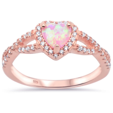 Rose Gold Plated Pink Opal Heart with Cz .925 Sterling Silver Ring Sizes 5-10