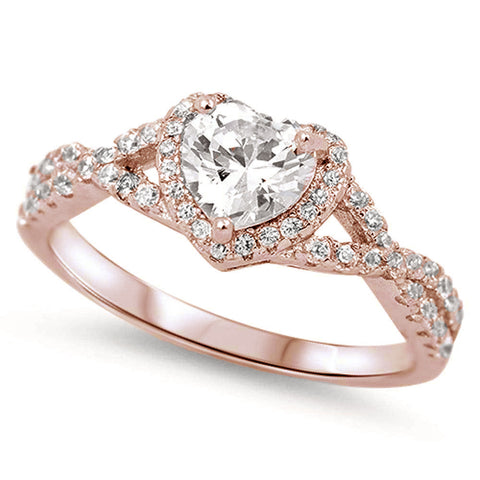 Rose Gold Plated Heart with Clear Cubic Zirconia .925 Sterling Silver Ring Sizes 5-10