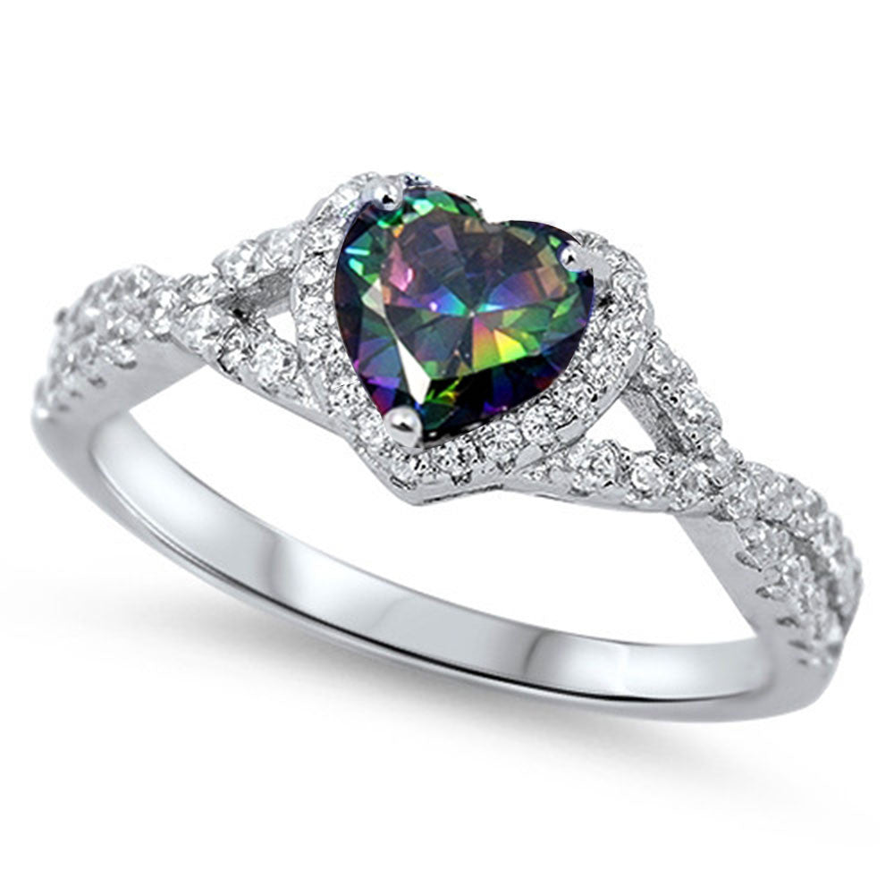 Rainbow Topaz Heart & Cubic Zirconia .925 Sterling Silver Ring Sizes 3-12