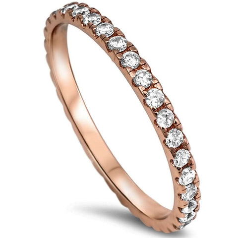 New Rose Gold Plated Cz Eternity Style Band .925 Sterling Silver Ring Sizes 3-10