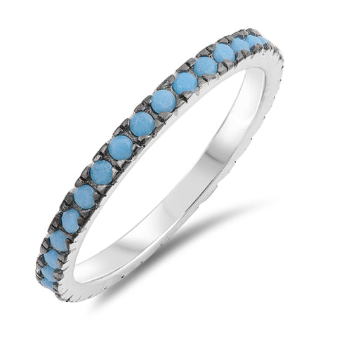 Turquoise Eternity Band .925 Sterling Silver Ring Sizes 5-12