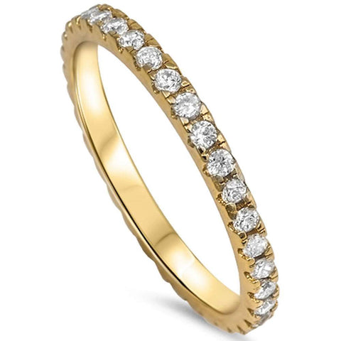 Yellow Gold Plated Cz Eternity Style Band .925 Sterling Silver Ring Sizes 3-10