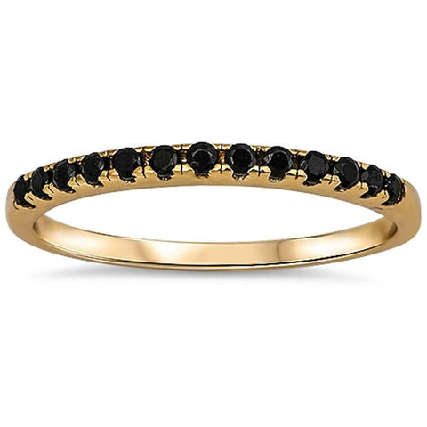 Yellow Gold Plated Black Onyx Eternity Band .925 Sterling Silver Ring Sizes 3-10