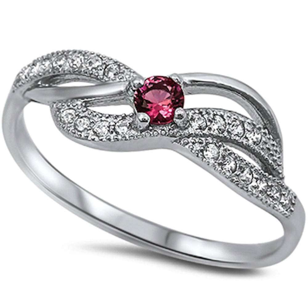 New Ruby & Cz Fashion .925 Sterling Silver Ring Sizes 5-9