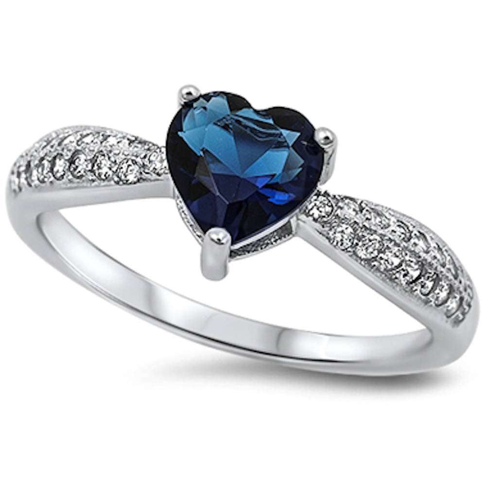 Blue Sapphire Heart & Pave Cz  .925 Sterling Silver Ring Sizes 5-10