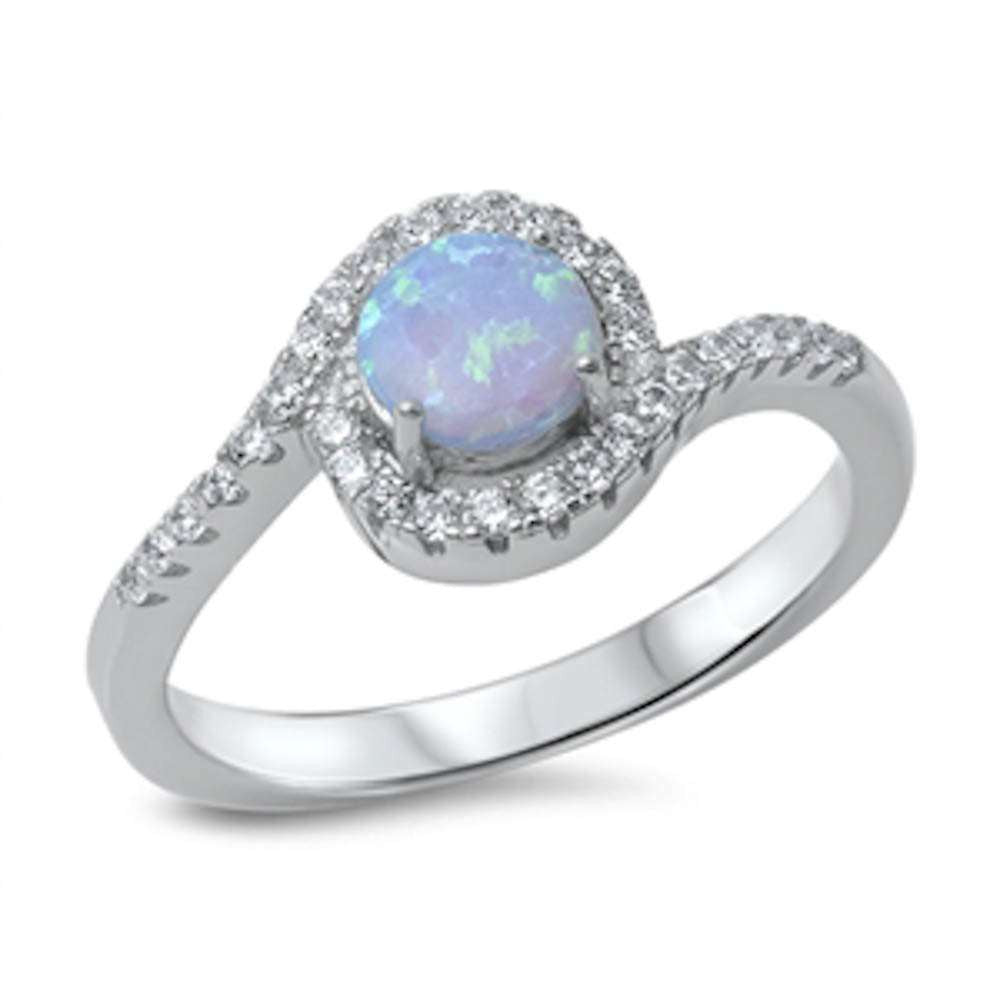 Halo Light Blue Opal & Cubic Zirconia .925 Sterling Silver Ring Sizes 4-10