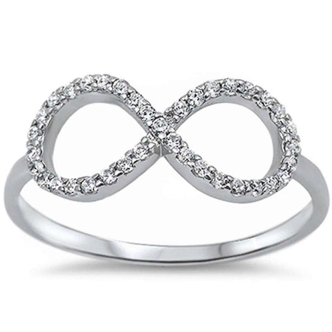 White Cz Infinity .925 Sterling Silver Ring Sizes 4-10