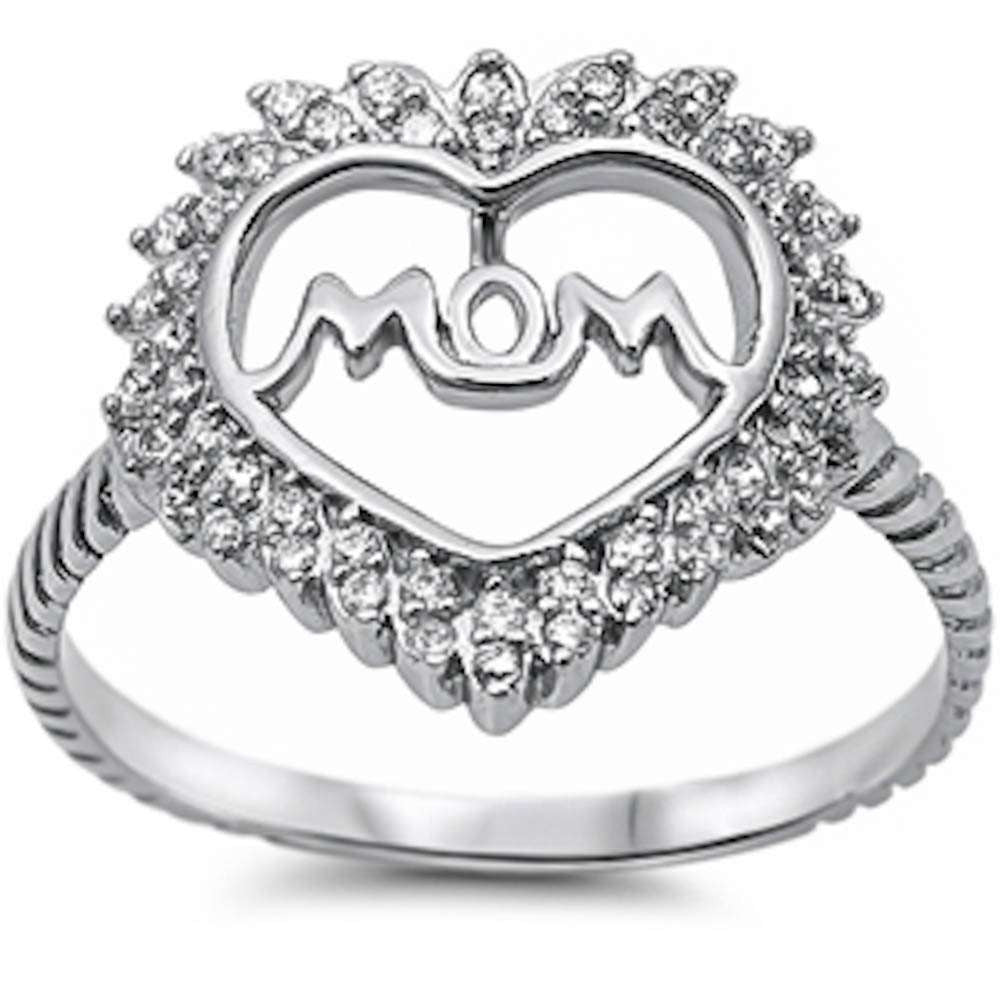 For Mom! Cz Heart w/ Mom  .925 Sterling Silver Ring Sizes 4-10