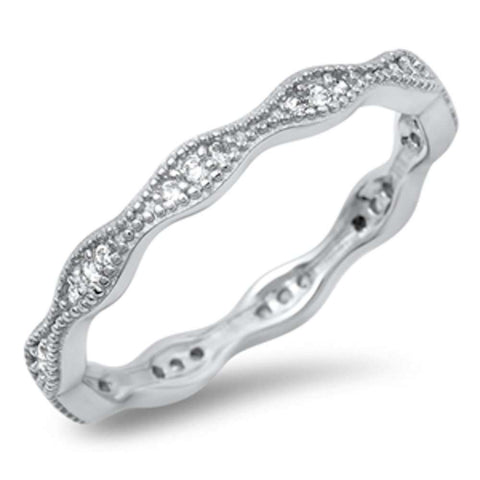 New Eternity Band Cz .925 Sterling Silver Ring Sizes 4-10