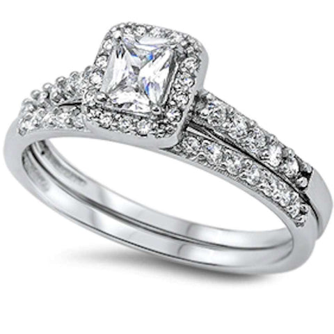 1.50CT Princess & Round Cz 2 Rings Set .925 Sterling Silver Ring Sizes 5-10