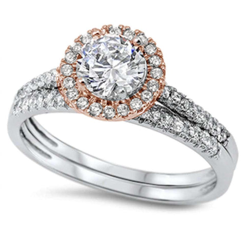 Two Tone Round Halo Cz Wedding Set .925 Sterling Silver Ring Sizes 6-8
