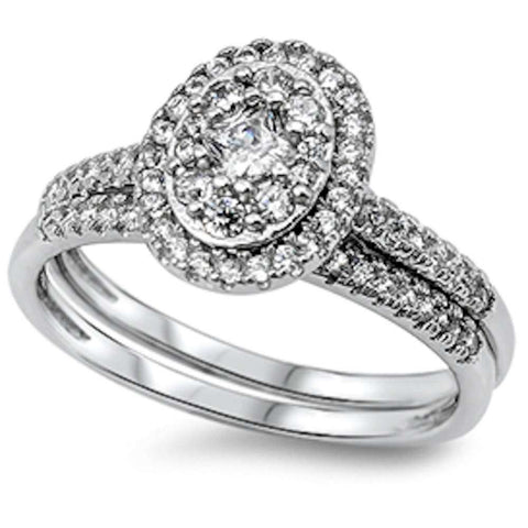 1CT Princess & Round Cz 2 Rings Set .925 Sterling Silver Ring Sizes 5-10