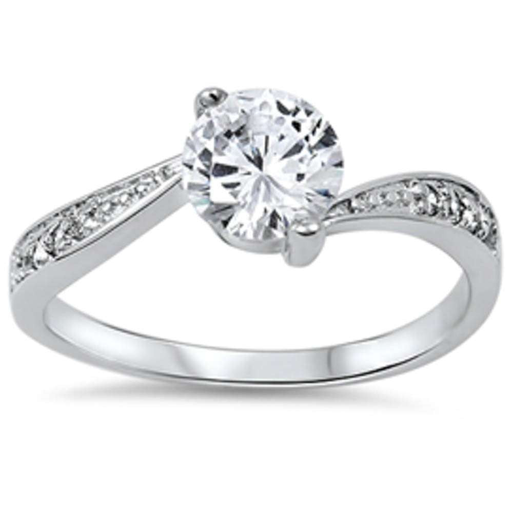Solitaire Cz Engagement fashion .925 Sterling Silver Ring Sizes 4-10