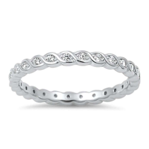 Infinity Cubic Zirconia Eternity Band .925 Sterling Silver Ring Sizes 4-10