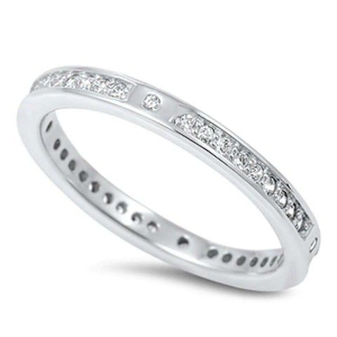 New Design Cubic Zirconia Eternity Band .925 Sterling Silver Ring Sizes 4-10