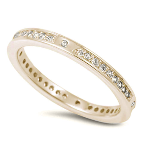 New Design Yellow Gold Plated Cubic Zirconia Eternity Band .925 Sterling Silver Ring Sizes 4-10