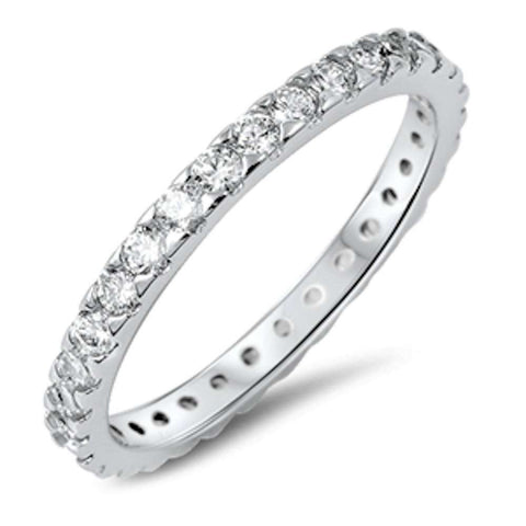 4 Prong Cubic Zirconia Eternity Band .925 Sterling Silver Ring Sizes 4-10