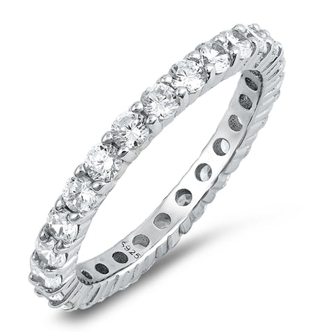 Cubic Zirconia Eternity Anniversary Band .925 Sterling Silver Ring Sizes 4-12