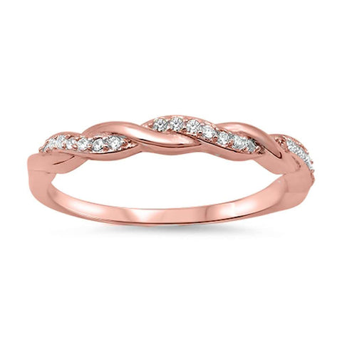 Rose Gold Plated Braided Infinity Cubic Zirconia .925 Sterling Silver Ring Sizes 4-10