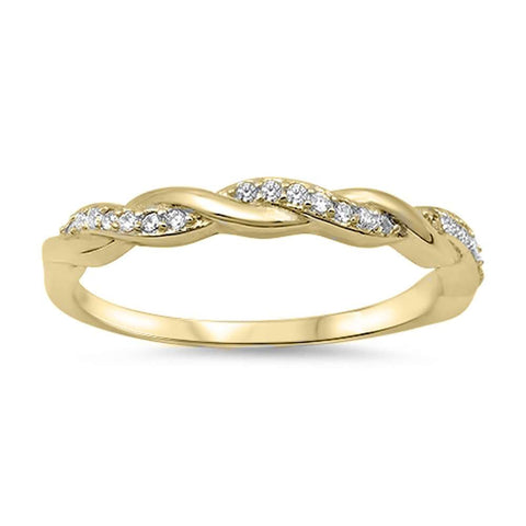 Yellow Gold Plated Braided Infinity Cubic Zirconia .925 Sterling Silver Ring Sizes 3-10