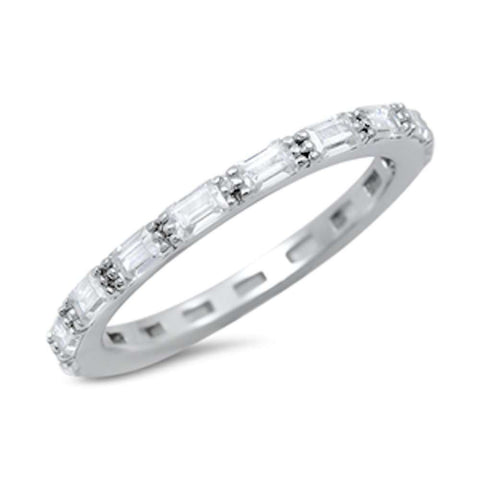 Baguette Cz Eternity Band .925 Sterling Silver Ring Sizes 4-10